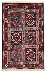 Yalameh Matto 80X124 Itämainen Käsinsolmittu Tummanpunainen/Beige (Villa, Persia/Iran)