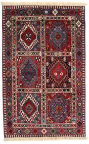 Yalameh Matta 80X127 Äkta Orientalisk Handknuten Mörkröd/Mörklila (Ull, Persien/Iran)