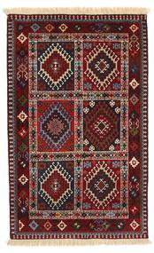Yalameh Matto 80X130 Itämainen Käsinsolmittu Tummanpunainen/Musta (Villa, Persia/Iran)