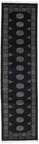 Pakistan Bokhara 2Ply Rug 77X289 Authentic  Oriental Handknotted Hallway Runner  Black/Dark Grey (Wool, Pakistan)