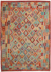 Kelim Afghan Old Style Vloerkleed 253X354 Echt Oosters Handgeweven Lichtbruin/Oranje Groot (Wol, Afghanistan)