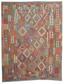Kelim Afghan Old Style Matto 262X337 Itämainen Käsinkudottu Tummanharmaa/Ruskea/Vaaleanruskea Isot (Villa, Afganistan)