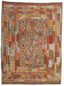 Kelim Afghan Old Style Teppe 256X344 Ekte Orientalsk Håndvevd Brun/Lysbrun Stort (Ull, Afghanistan)