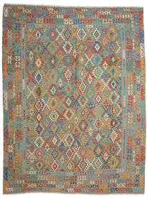 Kilim Afghan Old Style Rug 9′11″x12′11″ Authentic  Oriental Handwoven Light Brown/Dark Grey Large (Wool, Afghanistan)