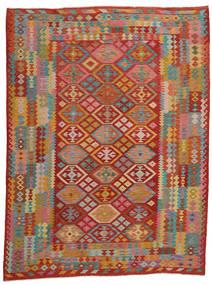 Kelim Afghan Old Style Teppe 257X339 Ekte Orientalsk Håndvevd Mørk Rød/Brun Stort (Ull, Afghanistan)