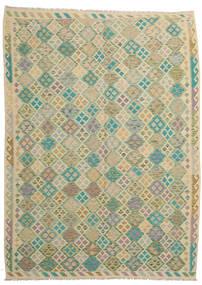 Kelim Afghan Old Style Matto 251X343 Itämainen Käsinkudottu Vaaleanharmaa/Tummanbeige Isot (Villa, Afganistan)
