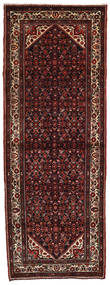 Hosseinabad Rug 119X316 Authentic  Oriental Handknotted Hallway Runner  Dark Red/Dark Brown (Wool, Persia/Iran)