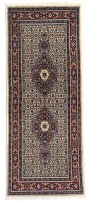 Moud Matta 76X188 Äkta Orientalisk Handknuten Hallmatta Mörkröd/Ljusbrun (Ull/Silke, Persien/Iran)