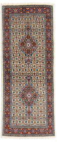 Moud Matta 78X194 Äkta Orientalisk Handknuten Hallmatta Mörkbrun/Mörkgrå (Ull/Silke, Persien/Iran)