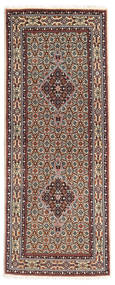 Moud Rug 79X198 Authentic  Oriental Handknotted Hallway Runner  Light Brown/Dark Brown (Wool/Silk, Persia/Iran)