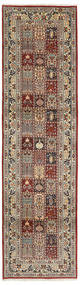 Moud Rug 80X295 Authentic  Oriental Handknotted Hallway Runner  Light Brown/Dark Red (Wool/Silk, Persia/Iran)