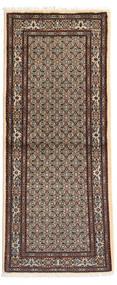 Moud Matta 80X193 Äkta Orientalisk Handknuten Hallmatta Ljusbrun/Beige (Ull/Silke, Persien/Iran)