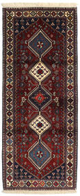 Yalameh Teppich  89X214 Echter Orientalischer Handgeknüpfter Läufer Dunkelrot/Dunkelgrau (Wolle, Persien/Iran)