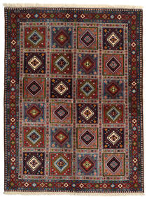 Yalameh Teppe 146X197 Ekte Orientalsk Håndknyttet Svart/Mørk Grå/Mørk Rød (Ull, Persia/Iran)