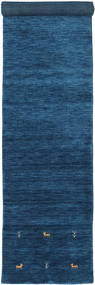 Gabbeh Loom Two Lines - Dark Blue Rug 2′7″x14′9″ Modern Hallway Runner  Dark Blue/Blue (Wool, India)