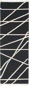 Cross Lines - Black/Off White Rug 80X350 Authentic  Modern Handwoven Hallway Runner  Dark Grey/Beige (Wool, India)