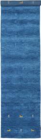 ギャッベ ルーム Two Lines - 青 絨毯 80X450 モダン 廊下 カーペット 青/紺色の (ウール, インド)