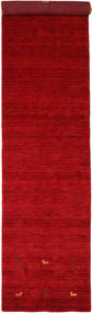 Gabbeh Loom Two Lines - Rot Teppich 80X450 Moderner Läufer Rot/Dunkelrot (Wolle, Indien)