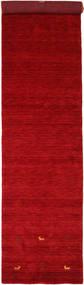 Gabbeh Loom Two Lines - Czerwony Dywan 80X450 Nowoczesny Chodnik Czerwony/Ciemnoczerwony (Wełna, Indie)