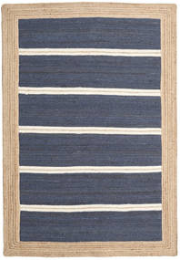 Frida Stripe - Blau Teppich 140X200 Echter Moderner Handgewebter Blau/Hellbraun ( Indien)
