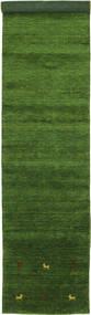 Gabbeh Loom Two Lines - Verde Tappeto 80X450 Moderno Alfombra Pasillo Verde Scuro (Lana, India)