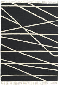 Cross Lines - Black/Off White Rug 140X200 Authentic  Modern Handwoven Dark Grey/Beige (Wool, India)