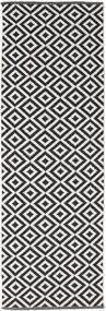 Torun - Czarny/Neutral Dywan 80X300 Nowoczesny Tkany Ręcznie Chodnik (Bawełna, Indie)