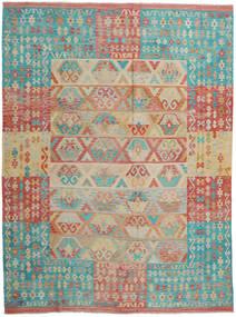 Kelim Afghan Old Style Vloerkleed 257X337 Echt Oosters Handgeweven Lichtbruin/Turquoise Blauw Groot (Wol, Afghanistan)