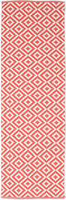 Torun - Coral/Neutral Rug 80X250 Authentic  Modern Handwoven Hallway Runner  Crimson Red/Light Pink (Cotton, India)
