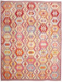 Kelim Afghan Old Style Matto 303X390 Itämainen Käsinkudottu Tummanbeige/Vaaleanpunainen Isot (Villa, Afganistan)