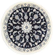 Nain Dywan Ø 100 Orientalny Tkany Ręcznie Okrągły Beżowy/Czarny (Wełna, Persja/Iran)
