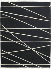 Cross Lines - Black/Off White Rug 250X350 Authentic  Modern Handwoven Dark Blue Large (Wool, India)
