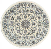 Nain Rug Ø 130 Authentic Oriental Handknotted Round Beige/Light Grey (Wool, Persia/Iran)