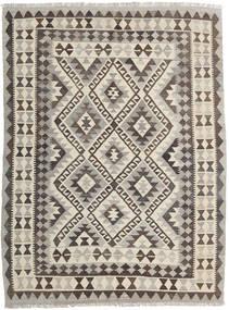 Kilim Afgan Old Style Dywan 145X192 Orientalny Tkany Ręcznie Jasnoszary/Ciemnobrązowy (Wełna, Afganistan)
