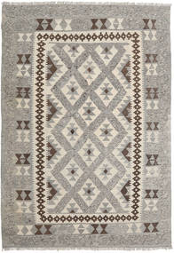 Kilim Afghan Old Style Alfombra 144X207 Oriental Tejida A Mano Gris Claro/Marrón Oscuro (Lana, Afganistán)