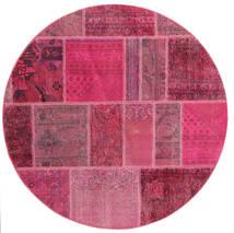 Patchwork Szőnyeg Ø 150 Modern Csomózású Kerek Rózsaszín/Világoslila (Gyapjú, Perzsia/Irán)