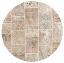 Patchwork Szőnyeg Ø 150 Modern Csomózású Kerek Világosbarna/Világosszürke (Gyapjú, Perzsia/Irán)