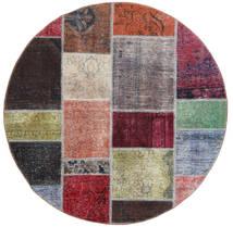 パッチワーク 絨毯 Ø 150 モダン 手織り ラウンド 濃い茶色/薄い灰色 (ウール, ペルシャ/イラン)