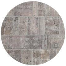 Patchwork Rug Ø 150 Authentic  Modern Handknotted Round Light Grey/Dark Grey (Wool, Persia/Iran)