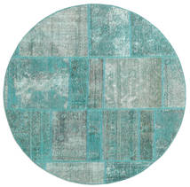 Patchwork Rug Ø 150 Authentic  Modern Handknotted Round Turquoise Blue/Turquoise Blue/Pastel Green (Wool, Persia/Iran)