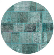 Patchwork Rug Ø 200 Authentic Modern Handknotted Round Turquoise Blue/Turquoise Blue (Wool, Persia/Iran)