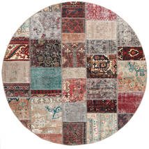 Patchwork Rug Ø 200 Authentic  Modern Handknotted Round Light Grey/Light Brown (Wool, Persia/Iran)