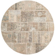 Patchwork Rug Ø 200 Authentic  Modern Handknotted Round Light Brown (Wool, Persia/Iran)