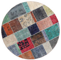 Patchwork Rug Ø 200 Authentic  Modern Handknotted Round Dark Grey/Light Grey (Wool, Persia/Iran)