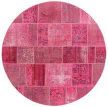 Patchwork Tæppe Ø 200 Ægte Moderne Håndknyttet Rundt Rosa/Lyserød (Uld, Persien/Iran)