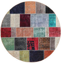 Patchwork Rug Ø 200 Authentic Modern Handknotted Round Dark Purple/Brown (Wool, Persia/Iran)