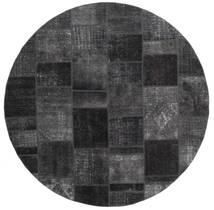패치워크 러그 Ø 250 정품  모던 수제 원형 블랙/다크 그레이 대형 (울, 페르시아/이란)