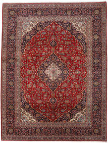 Keshan Vloerkleed 301X394 Echt Oosters Handgeknoopt Donkerrood/Bruin Groot (Wol, Perzië/Iran)
