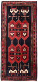Hamadan Rug 145X317 Authentic  Oriental Handknotted Hallway Runner  Dark Purple/Dark Red (Wool, Persia/Iran)