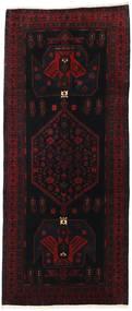 Hamadan Tæppe 128X302 Ægte Orientalsk Håndknyttet Tæppeløber Sort/Mørkerød (Uld, Persien/Iran)